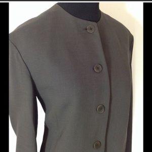 SALE  Donna Karan Olive Classic Collarless Jacket